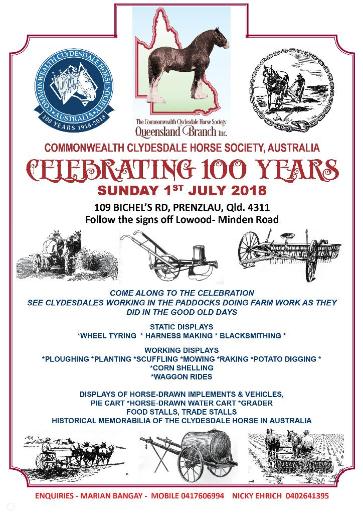Clydesdale centenary celebrations demo day flyer
